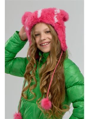 Шапка Панда Вязаный мех. Цвет: розовый
