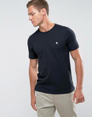 Abercrombie & Fitch Черная облегающая футболка с круглым вырезом и логотипом. Цвет: черный