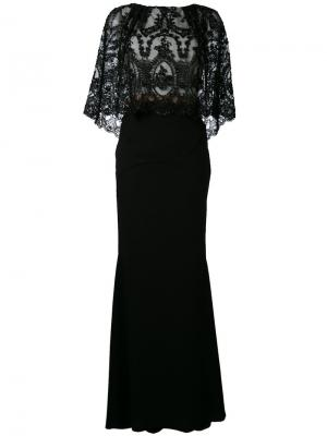 Платье макси с вышивкой Talbot Runhof. Цвет: чёрный