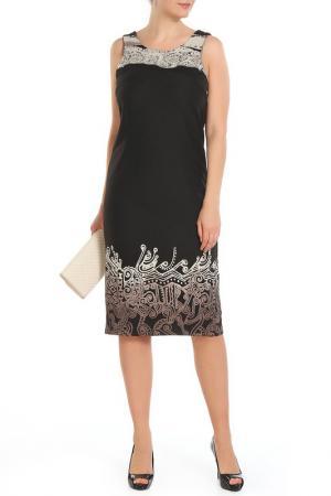 Платье без рукавов отделка-принт GOLD. Цвет: черный, бежевый