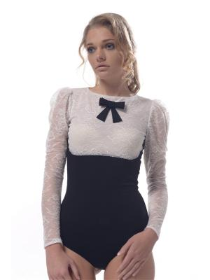Блуза-боди Arefeva. Цвет: молочный, черный