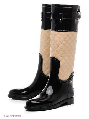Резиновые сапоги Lady Lita. Цвет: черный, бежевый