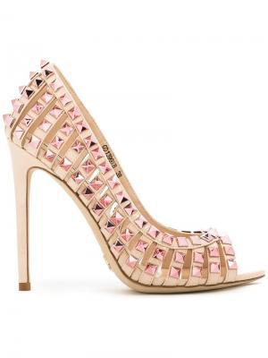 Туфли-лодочки с заклепками Gianni Renzi. Цвет: телесный