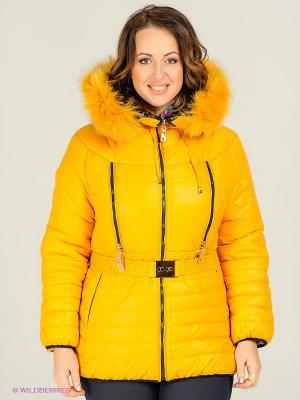 Куртка Alisa Line. Цвет: светло-оранжевый, черный