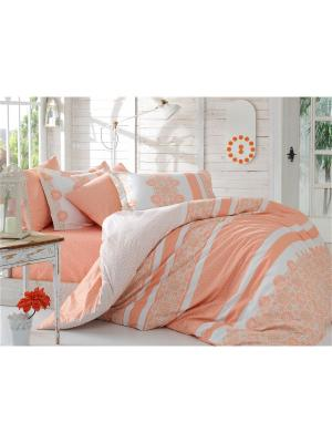 Кпб 1,5 сп. (Евро) поплин LISA, персиковый HOBBY HOME COLLECTION. Цвет: персиковый