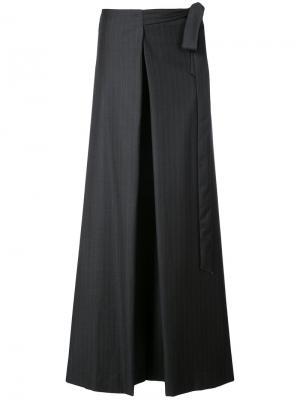 Широкие брюки с запахом в тонкую полоску By. Bonnie Young. Цвет: серый