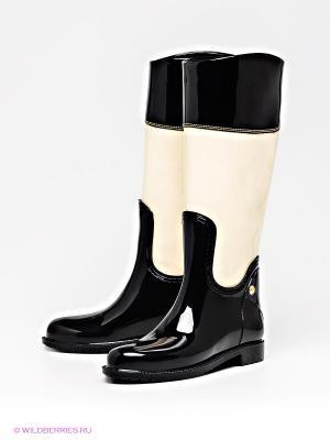 Резиновые сапоги Lady Lita. Цвет: черный, молочный