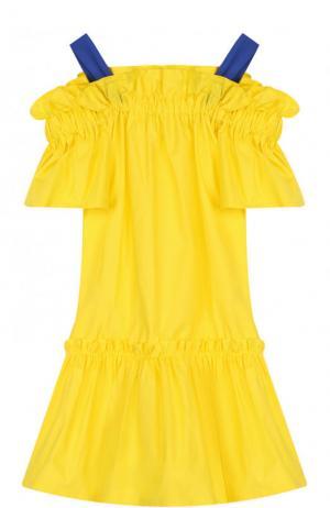 Хлопковое мини-платье на широких бретельках Il Gufo. Цвет: желтый