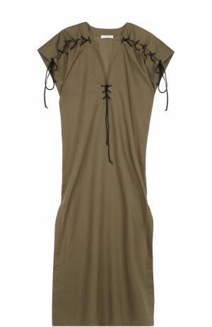 Хлопковая туника с высокими разрезами и контрастной шнуровкой Marysia. Цвет: оливковый
