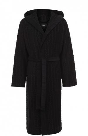 Хлопковый халат с поясом и капюшоном BOSS. Цвет: черный