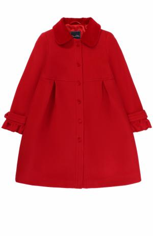 Однобортное шерстяное пальто с защипами и оборками Oscar de la Renta. Цвет: красный