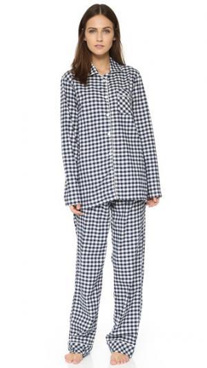 Фланелевая пижама Jamie Three J NYC. Цвет: темно-синяя клетка гингем/белая отделка