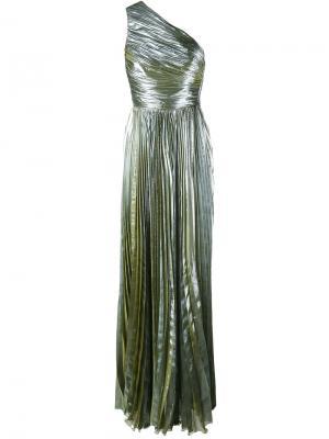 Вечернее платье на одно плечо с эффектом металлик Maria Lucia Hohan. Цвет: зелёный
