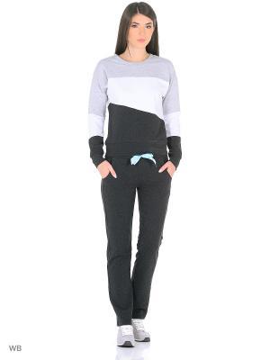 Спортивный костюм FORLIFE. Цвет: темно-серый, светло-серый, белый