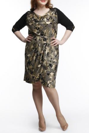 Платье с кокеткой Leshar. Цвет: золотой