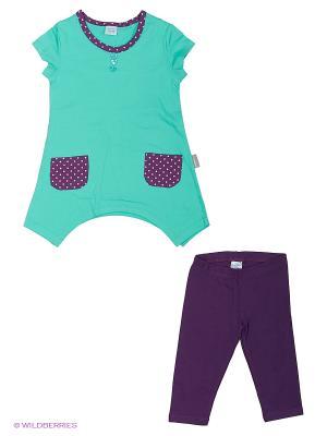 Комплект для девочки (туника, бриджи) Cherubino. Цвет: бирюзовый, фиолетовый