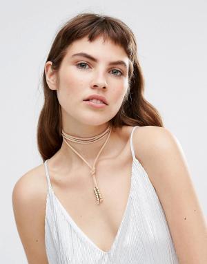 Krystal Замшевое ожерелье с завязкой. Цвет: бежевый
