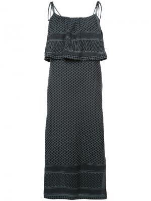 Платье-миди с оборками Cecilie Copenhagen. Цвет: зелёный