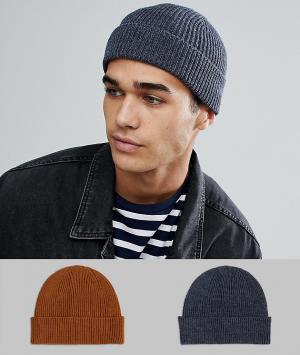 ASOS Набор из 2 шапок-бини джинсового и табачного цвета , СКИДКА. Цвет: темно-синий