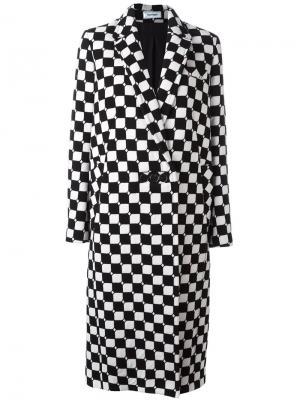 Длинное клетчатое пальто Courrèges. Цвет: чёрный