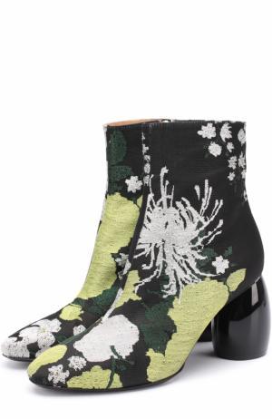 Ботильоны из текстиля с цветочным принтом на фигурном каблуке Dries Van Noten. Цвет: зеленый