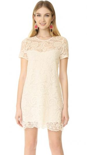 Кружевное платье Shea с короткими широкими рукавами cupcakes and cashmere. Цвет: золотой