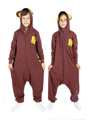 Хлопковая пижама-комбинезон МИШКА коричневый HandyWear. Цвет: коричневый