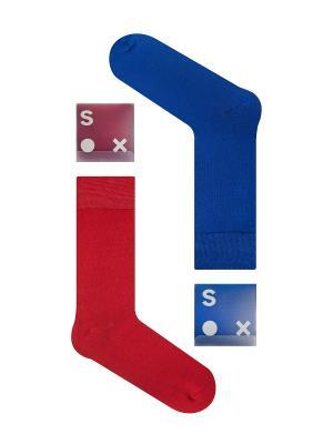 Набор Матрица (2 пары в упаковке), дизайнерские носки SOXshop. Цвет: синий, бордовый