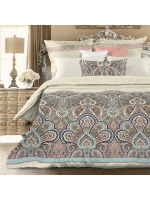 Комплект постельного белья Евро биоматин Лэйла Унисон. Цвет: коричневый, бежевый, голубой