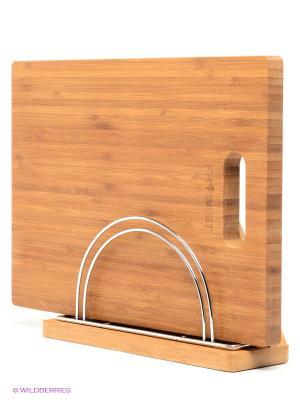 Подставка бамбуковая для доски и пяти ножей Frybest. Цвет: светло-коричневый, серебристый
