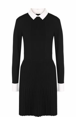 Шерстяное приталенное платье с плиссированной юбкой Tory Burch. Цвет: черный
