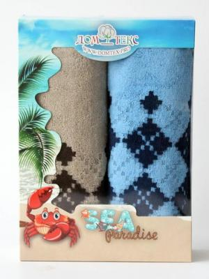 Набор махровых полотенец орнамент Домтекс. Цвет: коричневый, синий