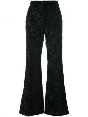 Бархатные брюки с вышивкой Rochas. Цвет: чёрный