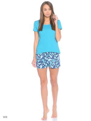 Пижама: топ, шорты Modis. Цвет: синий, зеленый, бирюзовый, белый