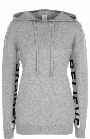 Однотонный кашемировый пуловер с капюшоном FTC. Цвет: серый