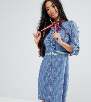 Sister Jane Petite Кружевное платье мини с отделкой в спортивном стиле. Цвет: синий