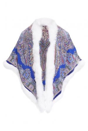 Шелковая шаль с отделкой из меха песца 139146 Kaminsky. Цвет: разноцветный