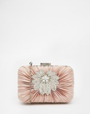 Vintage Styler Светло-бежевый клатч‑футляр с цветочной отделкой. Цвет: бежевый
