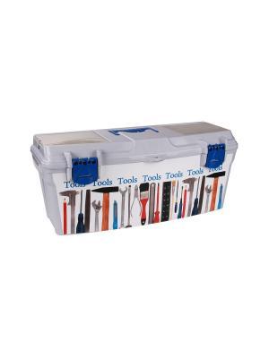 Ящик для инстр. 100 мелочей Альтернатива. Цвет: серый, синий