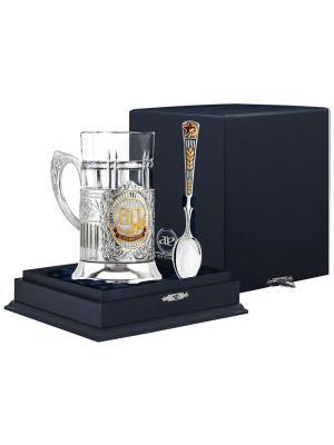 Набор для чая посеребренный с частичной позолотой  эмалью 60 лет серебряной ложкой + футляр АргентА. Цвет: серебристый