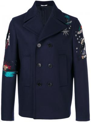 Пальто бушлат с вышивкой из бисера Valentino. Цвет: синий