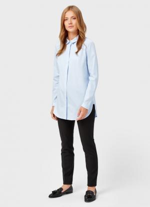 Рубашка из хлопкового жаккарда OSTIN. Цвет: голубой