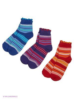 Носки - 3 пары Гамма. Цвет: синий, красный, фиолетовый