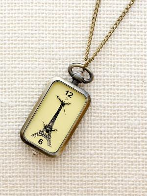 Кулон-часы Эйфелева - два циферблата Mitya Veselkov. Цвет: бронзовый