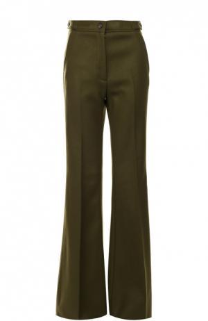 Расклешенные брюки со стрелками и завышенной талией Rochas. Цвет: зеленый