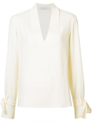 Блузка с завязками на рукавах Sally Lapointe. Цвет: белый