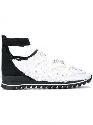 Декорированные кроссовки с ремешком на щиколотке No Ka Oi Ka'. Цвет: белый