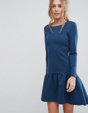 Closet London Платье с длинными рукавами и расклешенным краем. Цвет: синий