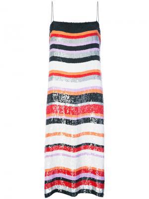 Полосатое платье с пайетками Jeffrey Dodd. Цвет: многоцветный