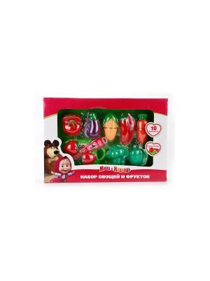 Набор овощей и фруктов Играем вместе Маша медведь. Цвет: красный, зеленый, фиолетовый